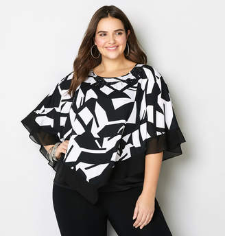 Avenue Graphic Rhinestone Poncho
