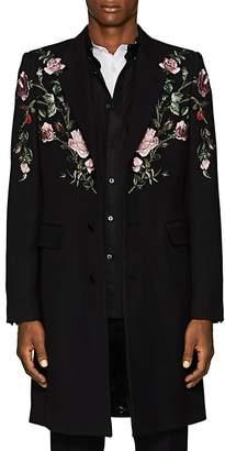 Alexander McQueen Men's Rose-Embroidered Wool-Silk Coat