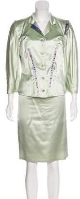 Christian Lacroix Print Accent Skirt Suit
