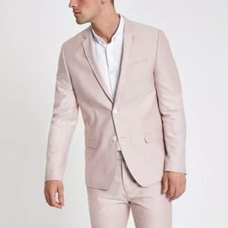 River Island Pink skinny fit Oxford blazer