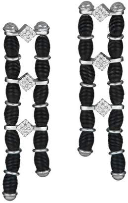 Diamond Studded, 18K Black Gold, Stainless Steel Double Drop Earrings