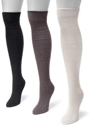 Muk Luks 3-pk. Women's Diamond Over-the-Knee Boot Socks