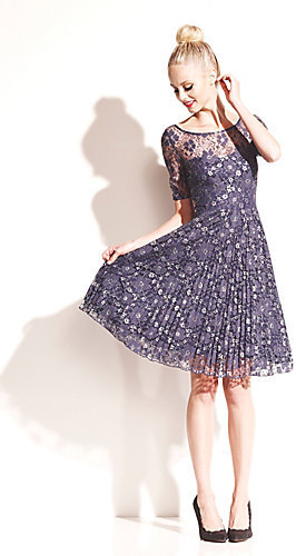 Betsey Johnson Floral Lace Dress With Pleating