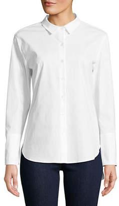 Isaac Mizrahi IMNYC Poplin Back Tie Button-Down Shirt