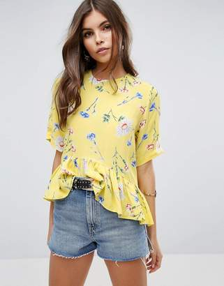 Asos Design Tee with Asymmetric Ruffle Hem in Yellow Floral