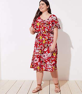 LOFT Plus Floral Knot Cuff Dress