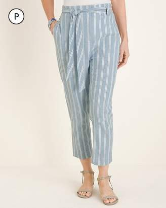 Chico's Chicos Petite Belted Striped Crops