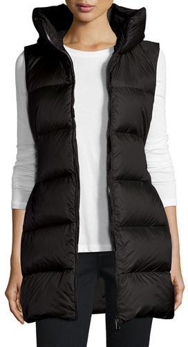 MonclerMoncler Glykeria Long Hooded Puffer Vest, Black