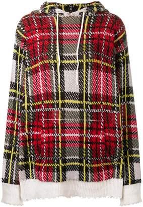 R 13 plaid check hoodie
