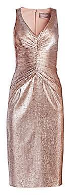 Theia Women's Metallic Ruched Midi Dress