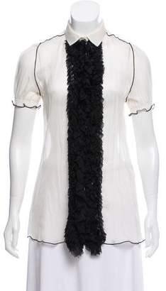 Dolce & Gabbana Silk Ruffle-Trimmed Top