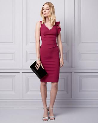698b3c2518 Le Château Knit Crepe V-Neck Ruffle Dress