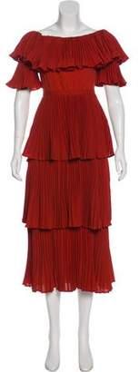 Self-Portrait Pleat-Accented Midi Dress