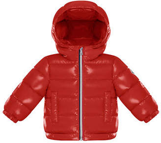 Moncler Quilted Shiny Nylon Hooded Puffer Jacket, Size 12M-3