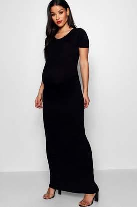 boohoo Maternity Short Sleeve Bodycon Maxi Dress
