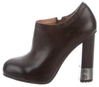 Armani Jeans Leather Round-Toe Booties