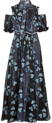 Self-Portrait - Pussy-bow Cold-shoulder Fil Coupé Organza Gown - Blue $385 thestylecure.com