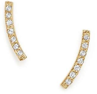 Chicco Zoë 14K Yellow Gold Small Curved Bar Stud Earrings with Pavé Diamonds
