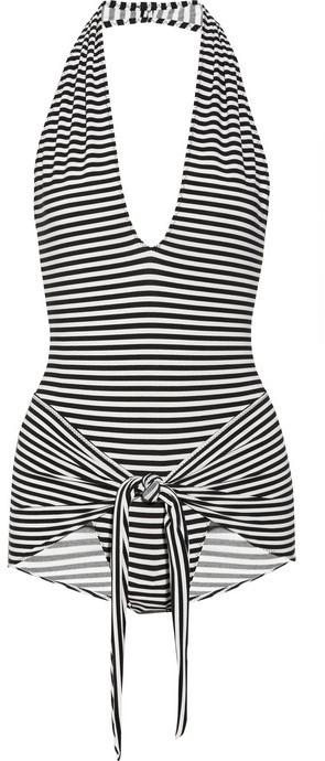 Norma Kamali Striped halterneck wrap swimsuit