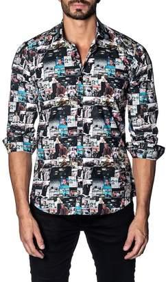 Jared Lang Graphic Print Trim Fit Shirt