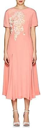 Alice Archer Women's Gloria Embroidered Silk Midi-Dress - Peach