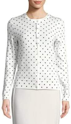 Lord & Taylor Plus Dotted Cotton Cardigan