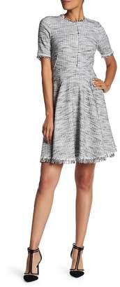 Rebecca Taylor Short Sleeve Tweed Knit Dress