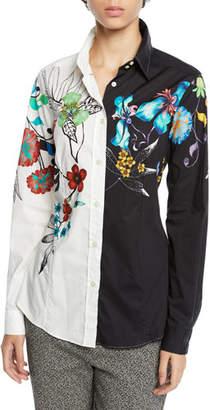 Etro Two-Tone Button-Front Floral-Print Poplin Blouse