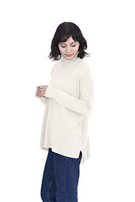 Cashmeren Oversized Tunic Side Slits Turtleneck Pullover 100% Pure Cashmere Long Sleeve Sweater for Women (