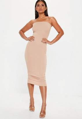 Missguided Nude Bandeau Midi Dress
