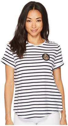 Lauren Ralph Lauren Petite Bullion-Patch Striped T-Shirt Women's T Shirt