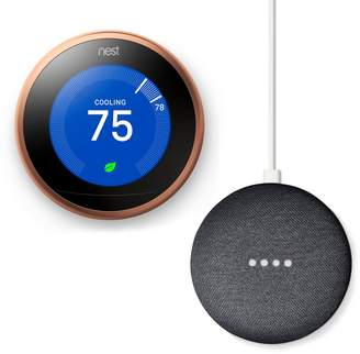 Nest Learning Thermostat Copper (3rd Generation) + Google Home Mini Bundle