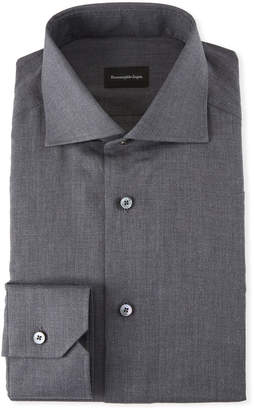 Ermenegildo Zegna Men's Heathered Twill Dress Shirt