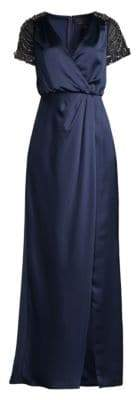 Aidan Mattox Embellished Wrap Gown
