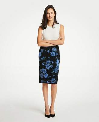 Ann Taylor Petite Floral Jacquard Sweater Pencil Skirt