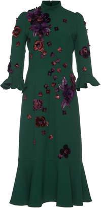 Andrew Gn Floral Embellished Midi Dress