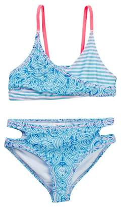 Jantzen Neo Nautical Maze Print Bikini with Reversible Bottom (Big Girls)