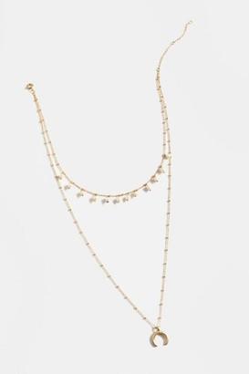 francesca's Nela Layered Crescent Necklace - Pearl