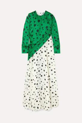 Kenzo Paneled Printed Linen And Satin Maxi Dress - Green