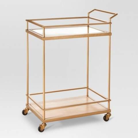 Threshold Wood & Glass Gold Finish Bar Cart - Threshold