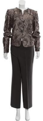 Armani Collezioni Floral Matelassé Pants Suit Pewter Floral Matelassé Pants Suit