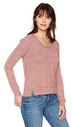 Michael Stars Women's Cashmere Blend Long Sleeve Soft V-Neck with Exposed Seams