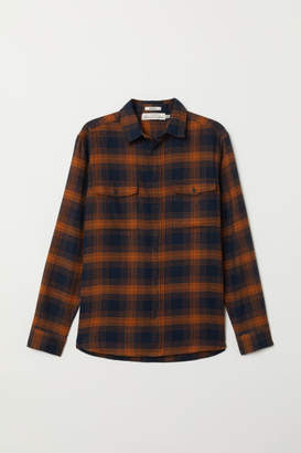 H&M Regular Fit Flannel Shirt - Yellow