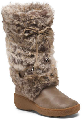 Made In Italy Tall Storm Long Faux Fur Boots
