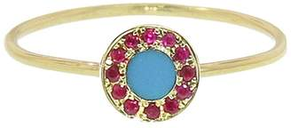 Jennifer Meyer Turquoise and Ruby Circle Inlay Ring