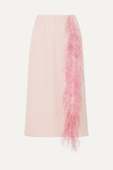 Prada - Feather-trimmed Silk-georgette Midi Skirt - Pastel pink