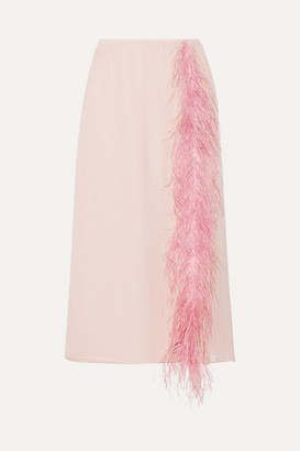 Prada Feather-trimmed Silk-georgette Midi Skirt - Pastel pink