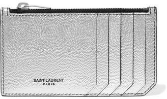 Saint Laurent Metallic Textured-leather Cardholder - Silver