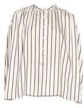 Isabel Marant Olda Striped Half-Placket Blouse