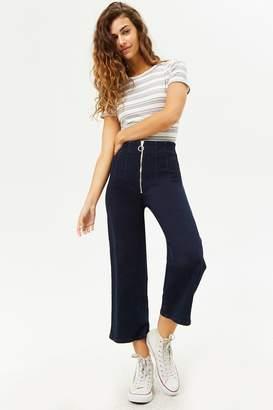 Forever 21 High-Waist Zip-Front Capri Jeans